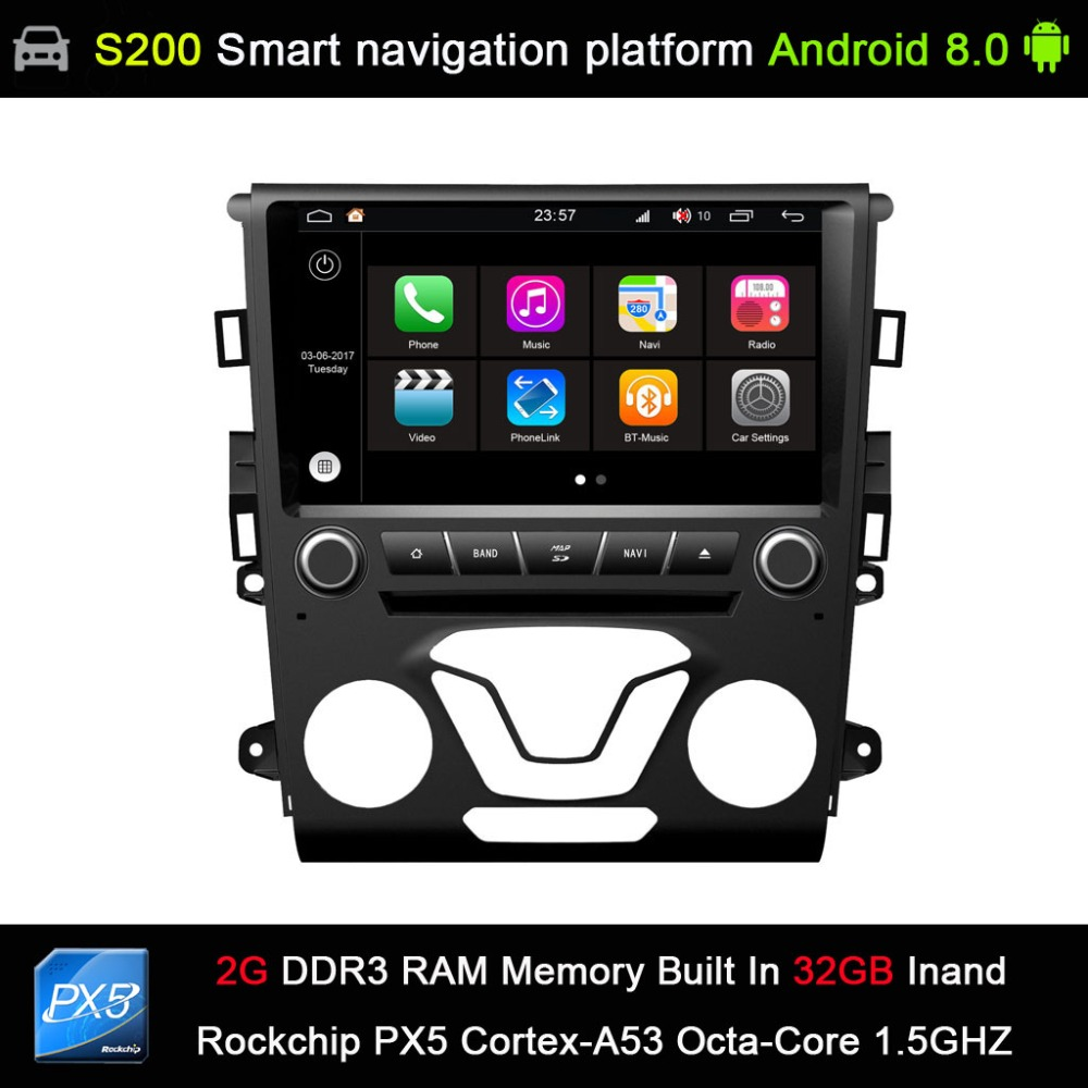 auto Android 8.0 system PX5 Octa 8-Core CPU 2G Ram 32GB Rom Car DVD Radio GPS Navigation for Ford Mondeo Fusion 2013 2014