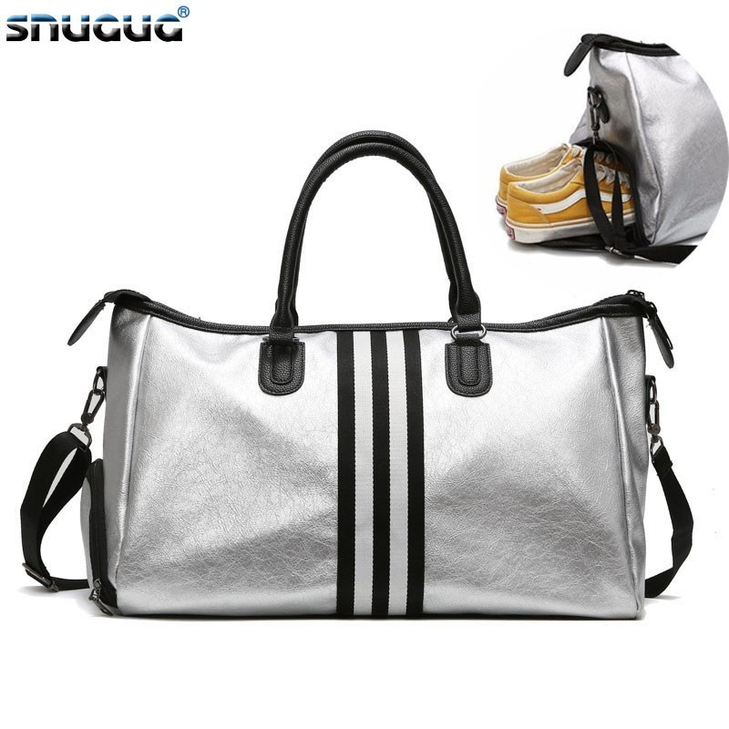 SNUGUG Waterproof Big Crossbody Bags For Women Fashion Mens Sports Shoulder Bag Travel PU Leather Ladies Gym Bags For Fitness