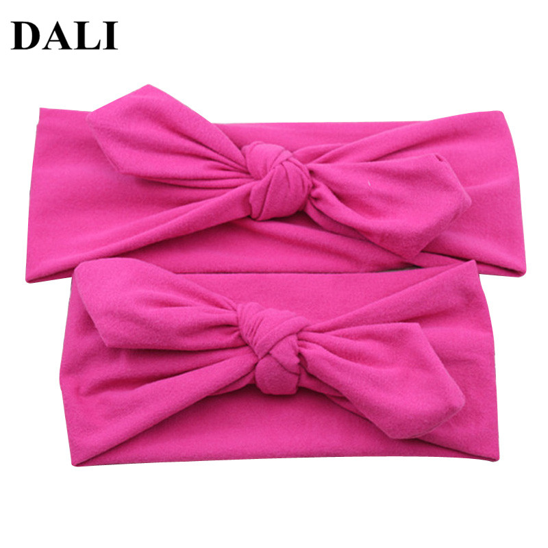 DALI 2 Pcs/Pair Kid Girls Mom And Me Daughter Headbands Solid Color Headband Baby Mom 10 colors Rabbit Ear Bows Hair Bands mommy and me headband mom and daughter matching headbands mom and me headscarf mummy and me headband