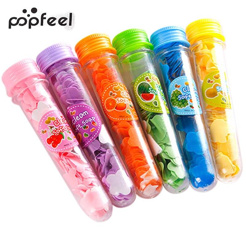 Popfeel Brand Mini Confetti Foaming Flower Paper Soap Slice Portable Body Washing Bath Test Tube Travel Accessary