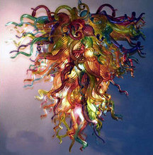 Elegant Foyer Villa Art Deco Multicolor Dale Chihuly Style Hand Blown Glass Modern Crystal Chandelier Light