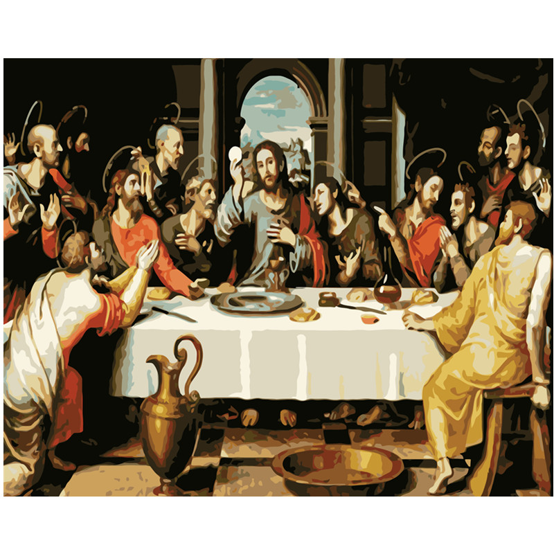 Painting By Numbers DIY Dropshipping 40x50 60x75cm When the priest Jesus spoke Figure Canvas Wedding Decoration Art picture Gift