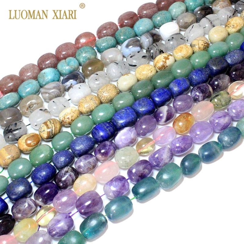 100% Natürliche Edelstein Rose Quarz Amethysten Einzigartige Fast Oval Formen Stein Perlen Für Schmuck Machen Diy Armband Halskette 15 * 20mm
