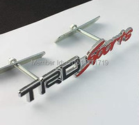 3D Metal Black TRD Red Sprot Front Hood Trunk Grill Grille Emblem Badge Racing Rally Emblem