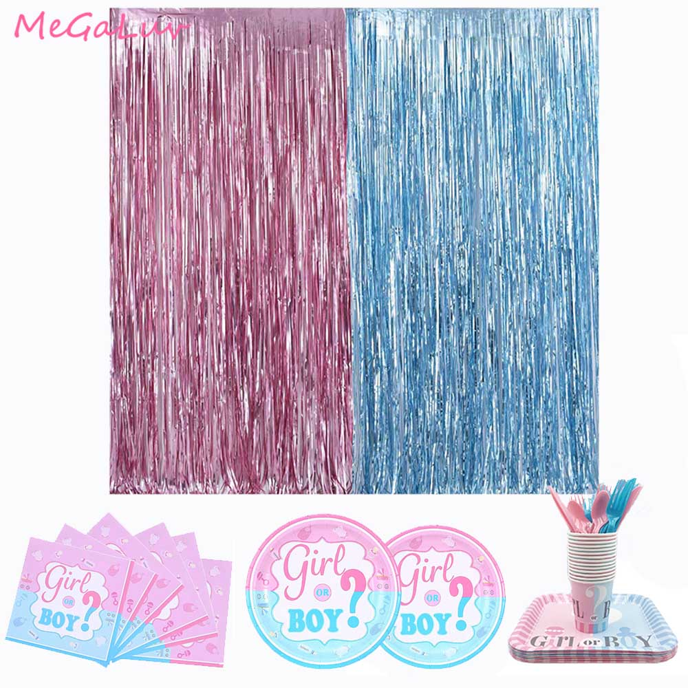 Baby Shower Party Metallic Tinsel Fringe Curtains Boy Or Girl Tableware Disposable Plate Cups Napkins Gender Reveal Supplies