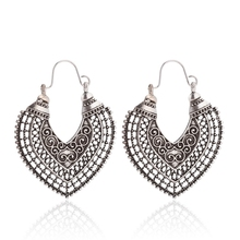 Boho Vintage Earring For Women New Hollow Out Heart-shaped Gypsy Ethnic Style Drop Indian Jewelry Pendientes