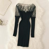 2018 autumn winter new women embroidery net slim package hip knitted dress female slash neck long sleeve vintage sexy dresses