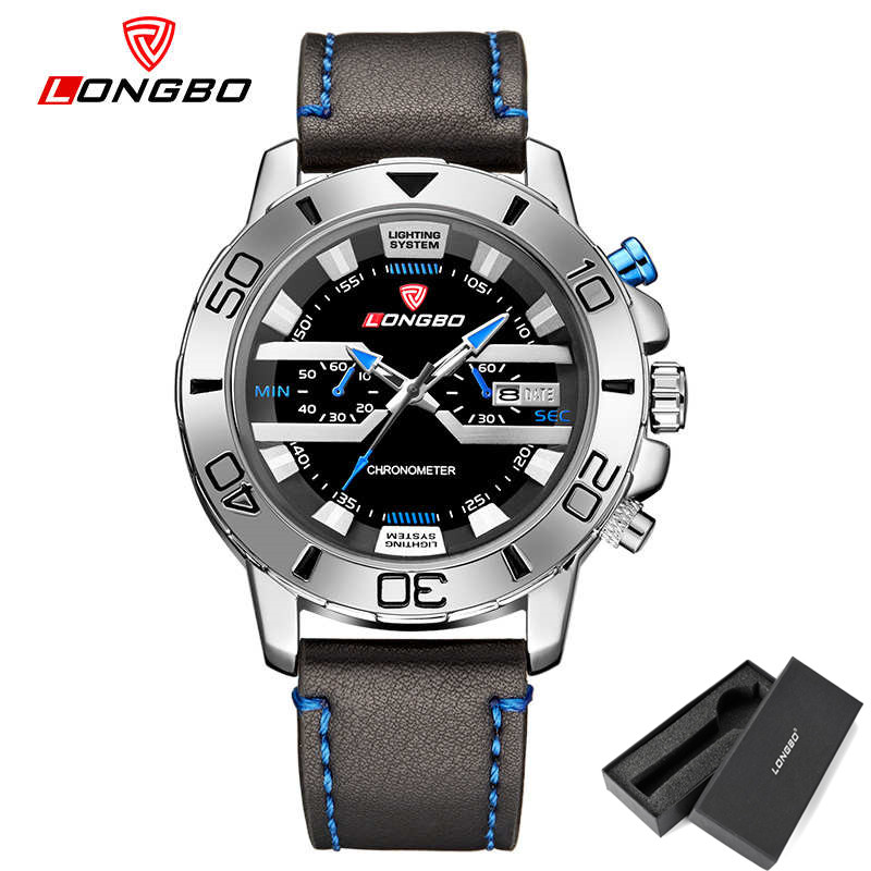 New LongBo Watch Men's masculino Fashion Brand Quartz Watches Date Calendar leather belt wristwatches male Christmas gift clocks
