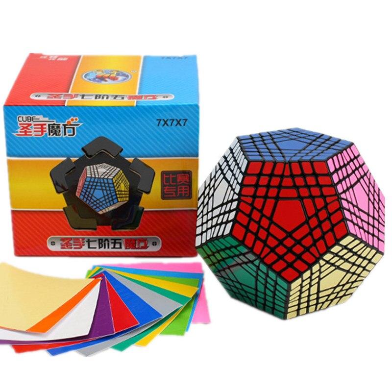 Oyuncaklar ve Hobi Ürünleri'ten Sihirli Küpler'de Shengshou 7x7x7 Megaminx Küp 7x7 Wumofang 7x7x7 Sihirli Küp Profesyonel dodecahedron Küp Büküm Bulmaca Eğitici Oyuncaklar'da  Grup 1
