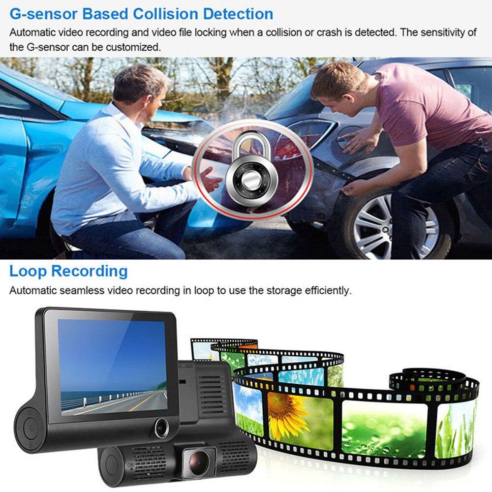 Mini 4 Inch 3 Lens Car DVR Full HD 1080P Rear Camera Dash Cam G sensor Vehicle Video Driving Recorder H 264 in DVR Dash Camera from Automobiles Motorcycles