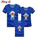 Ming Di Mother & Family Kids Trajes A Juego Camiseta de La Ropa para el Papá Lun Hija e Hijo Historieta Del Verano Corto Superior ropa