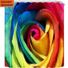 Colorful Rose Shower Curtain Personalized Waterproof Mildew Toilet Partition Semi Shade Bathroom