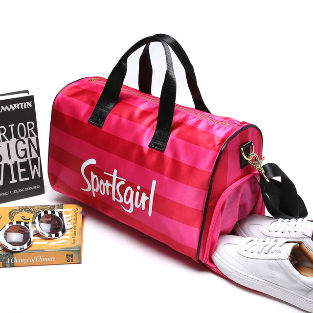 2018 New Multifunctional Pink Letters Gym Fitness Women Sports Bag