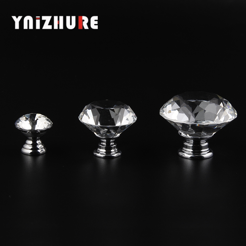 YNIZHURE 20-40mm Diamond Shape Design Crystal Glass Knobs Cupboard Drawer Pull Kitchen Cabinet Door Wardrobe Handles Hardware creative design modern glass ball pendant lights lamps for dining room living room bar 96 265v e27 edison bulb wpl116
