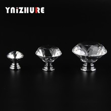YNIZHURE 20-40mm Diamond Shape Design Crystal Glass Knobs Cupboard Drawer Pull Kitchen Cabinet Door Wardrobe Handles Hardware(China)