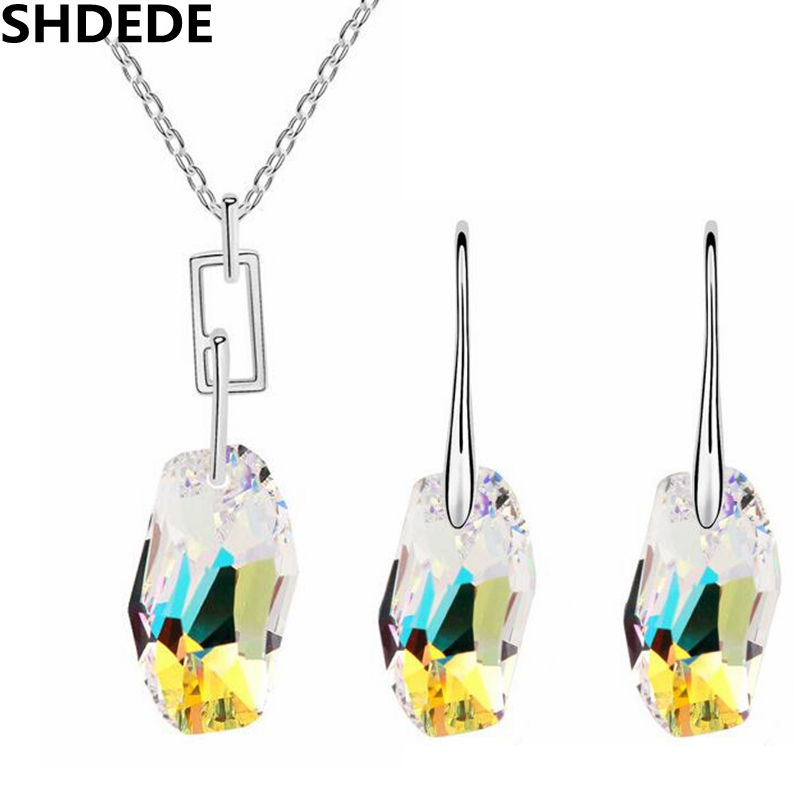 SHDEDE Wedding Jewelry Sets Necklace Earrings Made With Crystals from Swarovski Elements Women Fashion Accessories Gift - shdede многоцветный