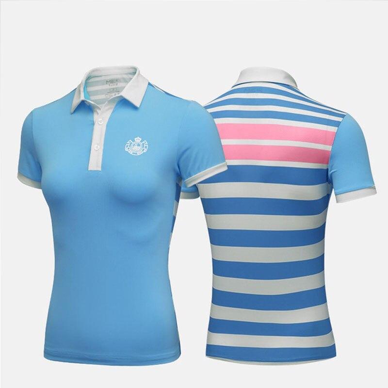 Pgm Women Slimming Striped Shirts Short Sleeve Fitness Golf T-Shirts Ladies Turn Down Collar Tennis Clothing S-XL AA60451