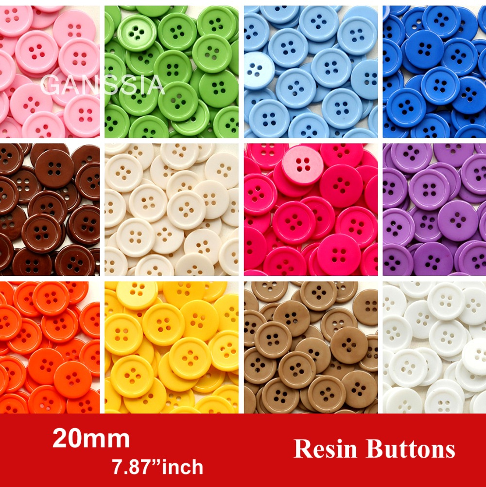Bulk buttons for crafts - 60pcs Lot Size 20mm Candy Colors Fashion Resin Buttons For Craft 4 Holes Bulk Buttons For Garments Sewing Accessories Ss 674 2