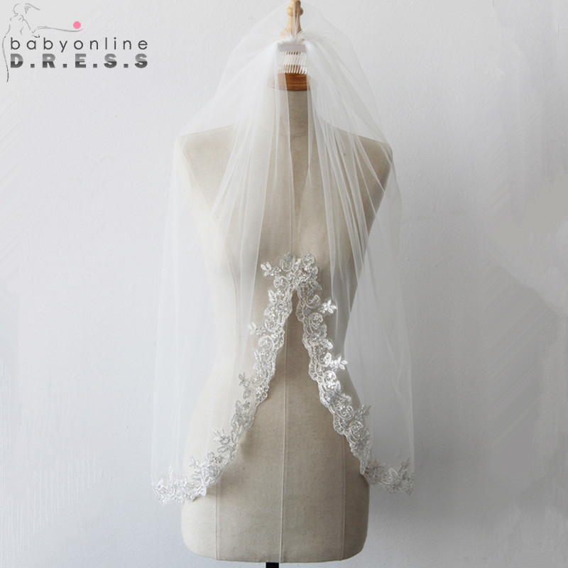 Wedding-Veil Short Voile Comb Mariage Lace-Edge Appliques Ivory White One-Layer