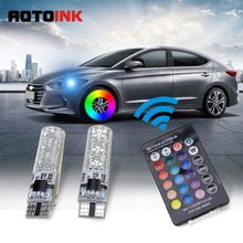 AOTOINK Car Signal Lights RGB T10 w5w LED Bulb 12V Auto Interior Clearance Light w5w T10 Led Lamps Bulbs for Remote Control