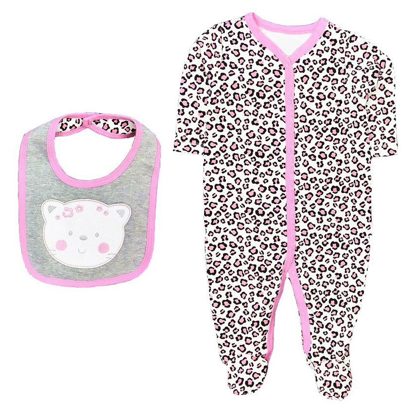 2018 Newborn Baby romper+bib baby girls clothes 100% cotton long sleeve infant pink cat O-neck cute bebe clothing