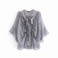 Blouses Woman 2019 Summer New Korean Women's Chiffon Ruffled Lace up Perspective Shirt Kimono Cardigan Blusa