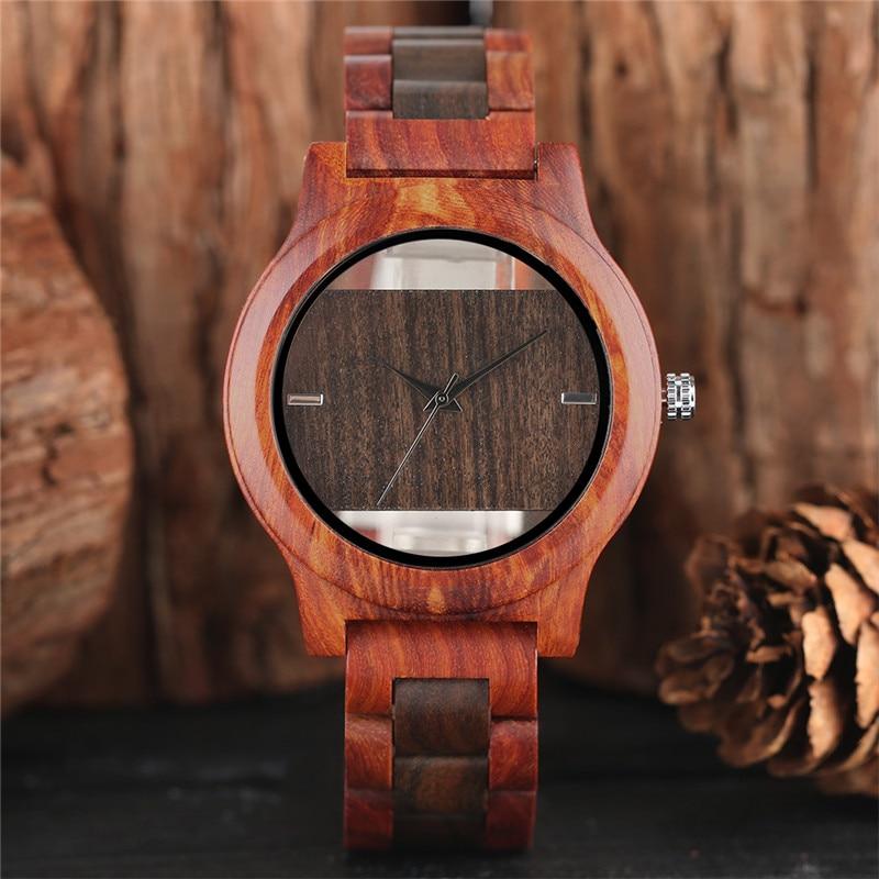 YISUYA Reloj de Madera Creativo Hollow Dial Naturaleza Banda de - Relojes para hombres