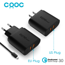CRDC 36W Dual quick charge 3.0 Travel Wall Usb Charger EU US Plug for iPhone Samsung Xiaomi &More QC2.0 Compatible, Aukey Made