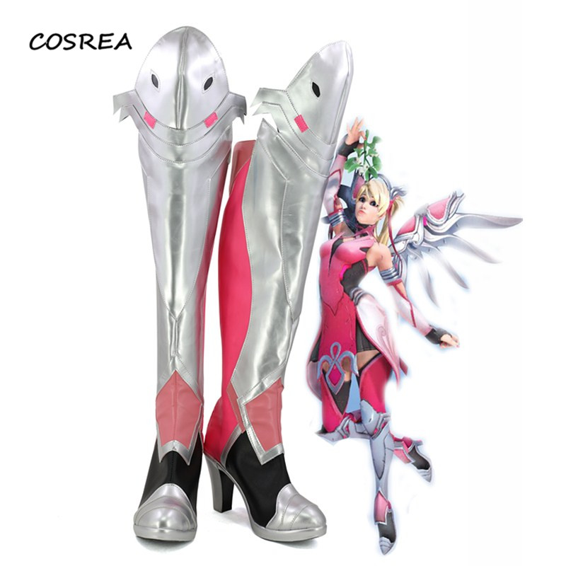 Game OW Mercy Angela Ziegler Pink Skin Shoes Cosplay Costumes Adult Women Halloween Party Props Accessories Boots Custom Made