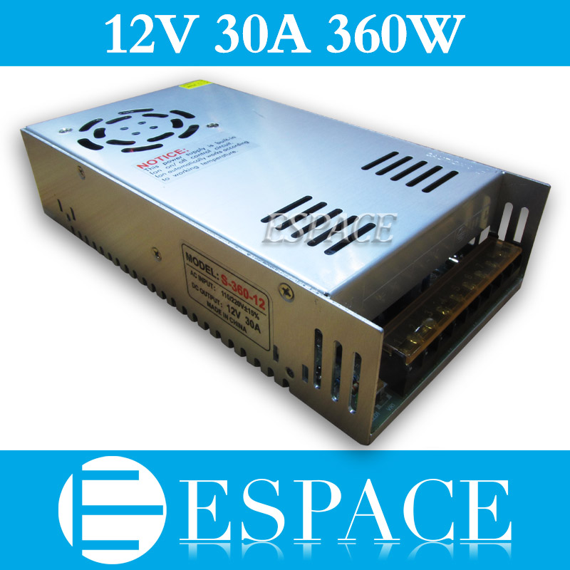 Best quality 12V 30A 360W Switching Power Supply Driver for LED Strip CCTV 3D print AC 100-240V Input to DC 12V free shipping 36pcs best quality 36v 10a 360w switching power supply driver for led strip ac 100 240v input to dc 36v10a