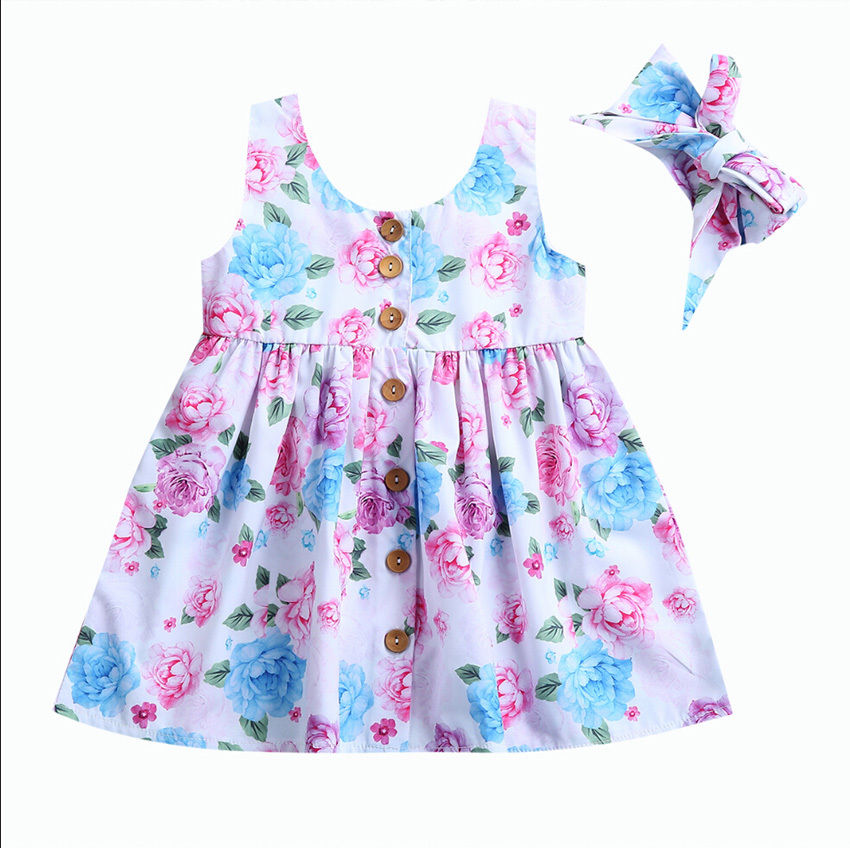 2PCS/Set Toddler Kids Girls Summer Dress 2017 New Floral Button Baby Girl Sleeveless Party Dresses+Headband Sundress Clothes new summer toddler kids baby girls floral sleeveless princess dress flower tutu party dresses