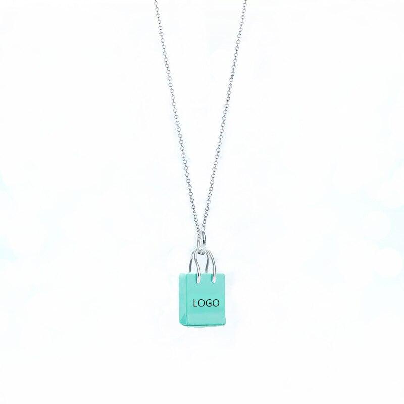 SHINETUNG TIFF Original 100% S925 Sterling Silver GreenHandbag Trendy Pendant Necklace Women Logo Fine Luxury High End Jewelry
