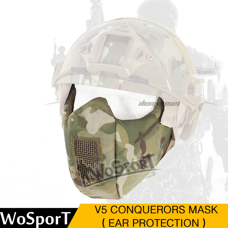 Outdoor Sports Military Tactical Mask Ear Protective Airsoft Paintball Hunting Masks Men Women Army Shooting Masks