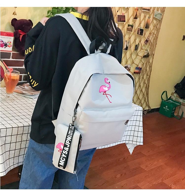HTB1l40DKpuWBuNjSszbq6AS7FXaK Backpacks Brand Women Simple Flamingo Printing Backpack For Teenage Girls Laptop School Bags Mochila 2019
