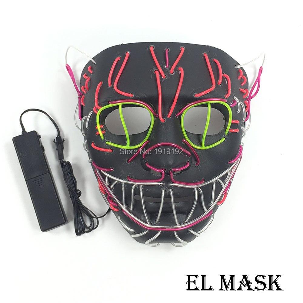 Masque de fête en gros 10 pièces el fil masque son activé 10 couleur disponible masque LED pour Halloween décor par pilote de DC-3V