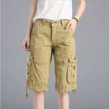 Military Womens Cotton Cargo Shorts for Women Summer Knee Length Short Pants Casual Biker Shorts Black Red Khaki Blue Orange(China)