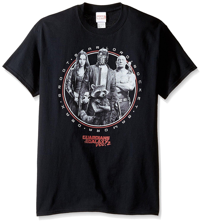 Mens short t-shirt Marvel Mens Guardians Group T-Shirt, Black, Medium