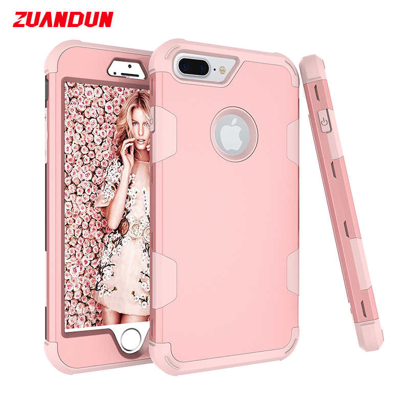 ZUANDUN Luxury Hybrid Armor Shockproof Case For iPhone 8 8 Plus X 7 6 6S 360 Degree Full Cover For iPhone 7 6S Phone Case Coque
