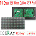P10 DIP Открытый Зеленый СВЕТОДИОДНЫЙ дисплей модуль 320*160 мм 32*16 пикселей для текста сообщения во главе знак светодиодный экран стены