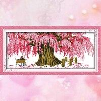 Joy Sunday embroidery crossstitch happiness pink tree DMC14CT11CT cottonfabric neeldework livingroom painting factory wholesale
