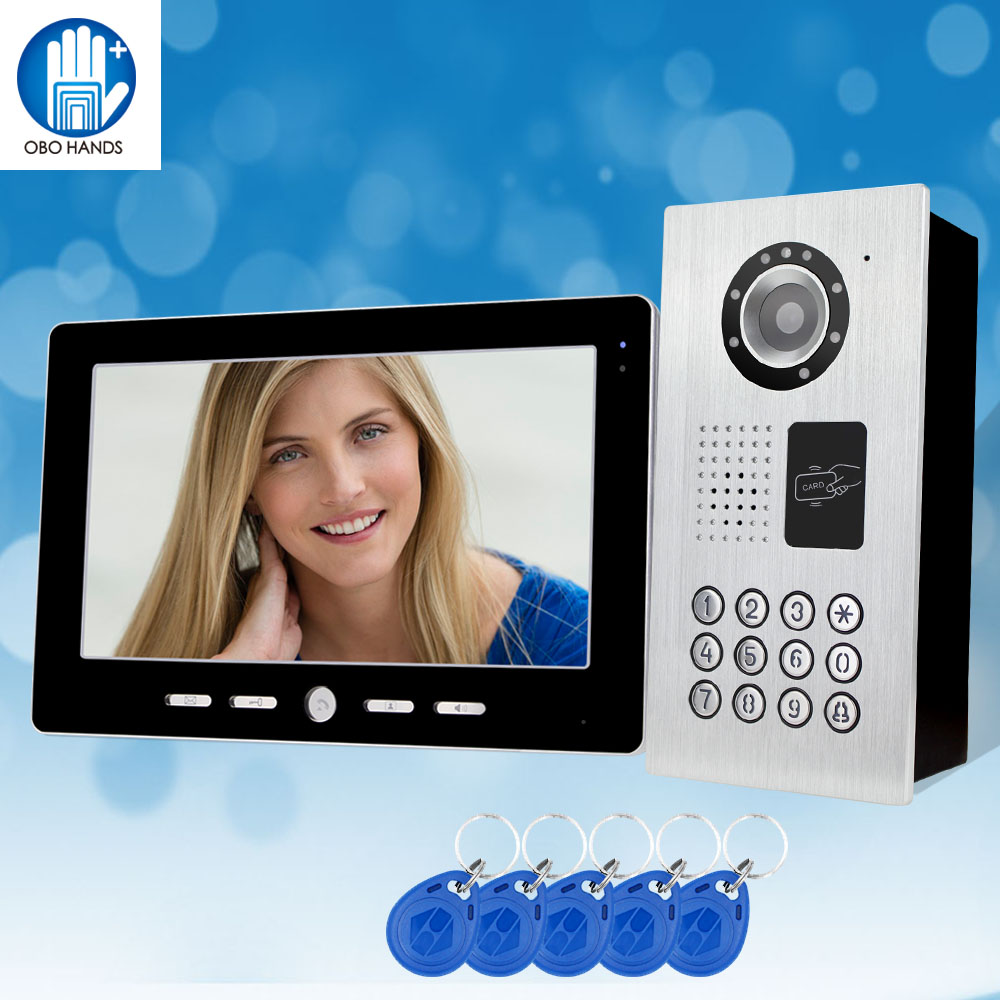 RFID 10'' TFT Color Video Doorbell Intercom System Door Phone Black Indoor Monitor With IR Password Outdoor Camera For Home 4 3 hd rfid color video intercom system video door phone with ir coms outdoor camera doorbell 125khz id card for home office