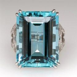 Grande bague en pierre Zircon, grande bague en cristal pour femmes, grande bague en pierre de Zircon, bijoux de mariage, fiançailles, promesse