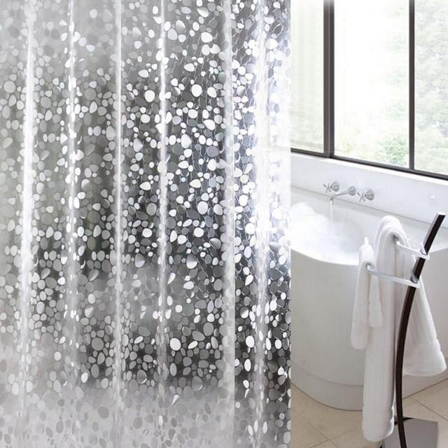 3D Pebble Bubbles Shower Curtain Thicken Bath Curtains With 12 Hooks Thick Waterproof Mildew Proof Bathroom Decor Metal Ring