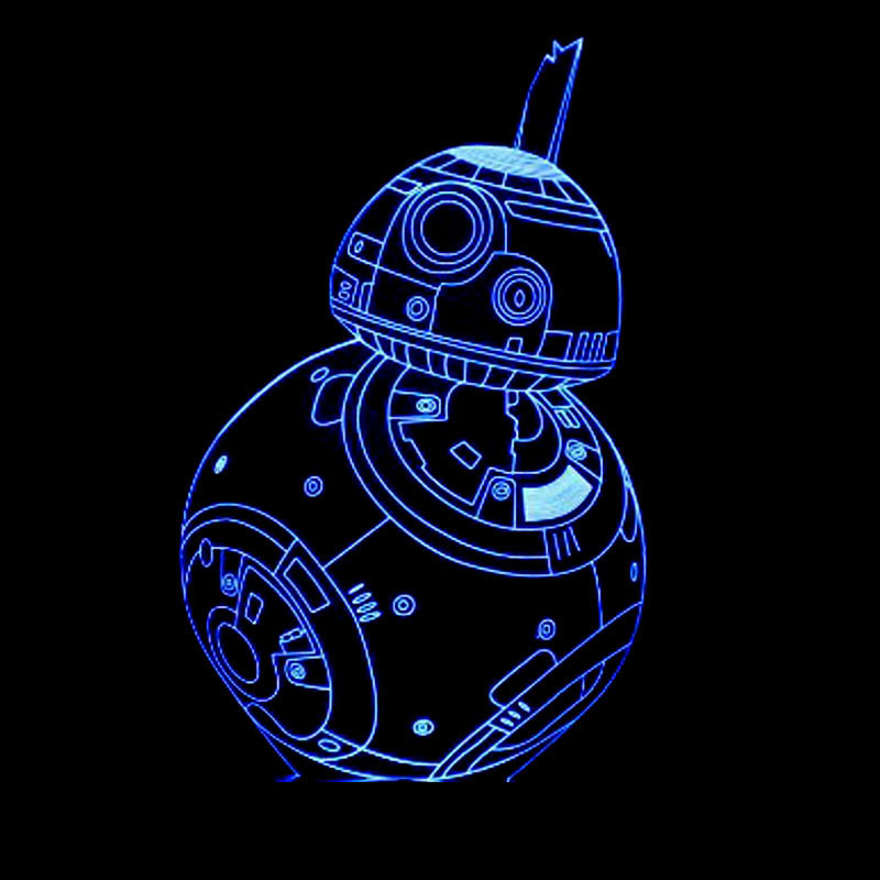 Baby Sleep NightLight Creative 7 Color Changing 3D LED Star Wars BB8 Table Lamp BB-8 Robot Lighting Kids Toy Gifts Bedside Decor