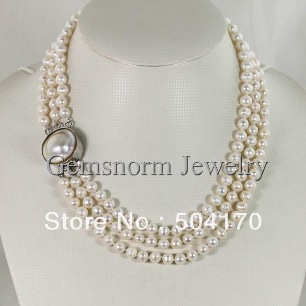 Breloques 3 rangées collier de perles de pomme de terre d'eau douce 7-8 MM perles blanches bijoux mode fermoir Mabe Plear nouveau FP145