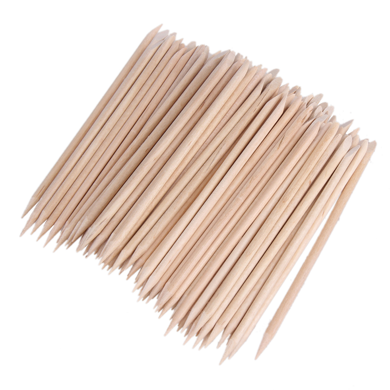 2016 New Arrival 1 Pack Nail Art Orange Wood Sticks Cuticle Pusher Nail Cuticle Remover Manicures Nail Art Care Tools #BSEL