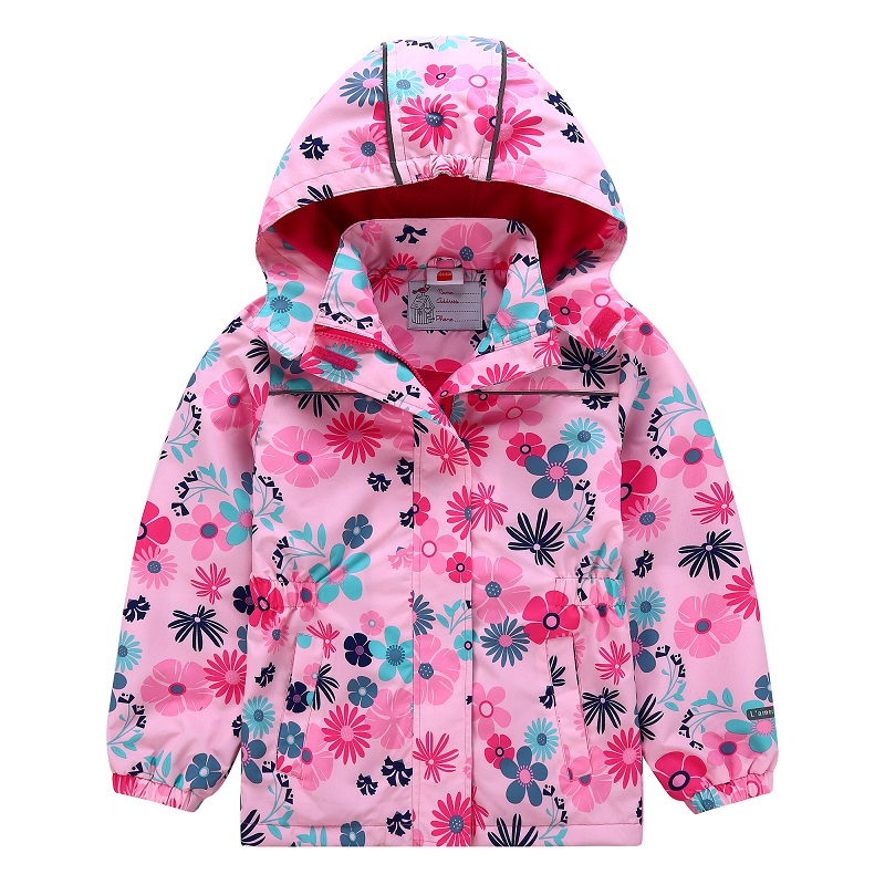 Waterproof Fitted Waist Baby Girls Jackets Warm Floral Printed Child Coat Polar Fleece Hooded Children Outerwear 3-12 Years Old