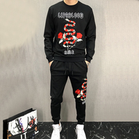 Seestern Brand Clothing Men S Hoodies Suits Embroidery Flowers Snake Letters Fashion Youth Autumn Winter Warmth
