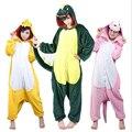 Unisex Outono e Inverno Conjuntos de Pijama 2016 Bonito Dos Desenhos Animados Pijamas Mulheres Pijama De Flanela Animais Ponto Pijama Panda Onesies Unicórnio