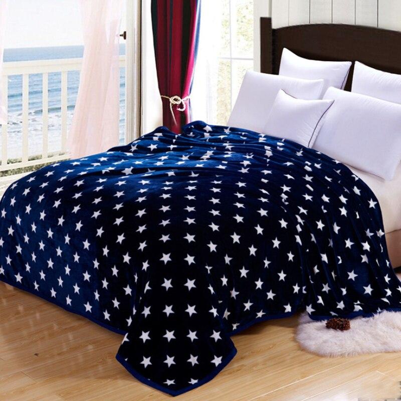 Blue Stars Warm Microplush Ultra Soft Faux Mink Flannel